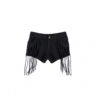 Fringed Mini Jeans (black)